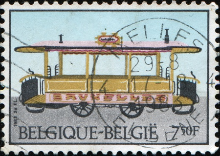 BELGIUM - CIRCA 1983: A stamp printed in Belgium shows tram, circa 1983 Stock Photo - 9501530