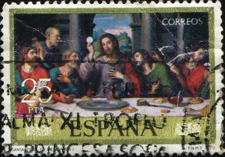 SPAIN - CIRCA 1979: A stamp printed in Spain shows paint by Juan de Juanes - The last supper' circa 1979  Stock Photo - 9501531