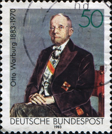 physiologist: GERMANY - CIRCA 1983: A stamp printed in the German Federal Republic shows Otto Heinrich Warburg - German physiologist, medical doctor and Nobel laureate, circa 1983