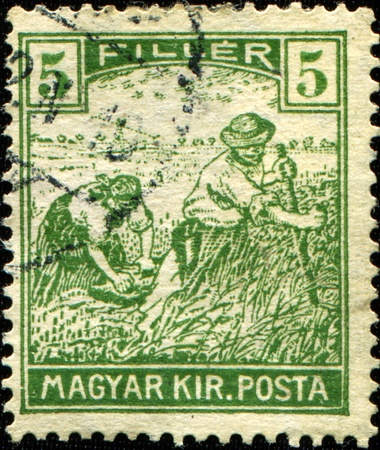 HUNGARY - CIRCA 1950: A stamp printed in Hungary shows farmers, circa 1950  photo