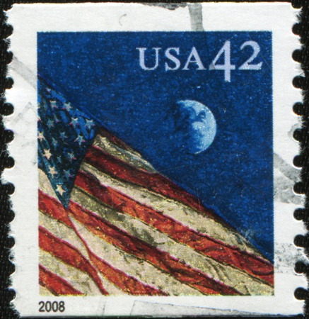 UNITED STATES OF AMERICA - CIRCA 2008: A stamp printed in the USA shows Flag on the sky, circa 2008  photo