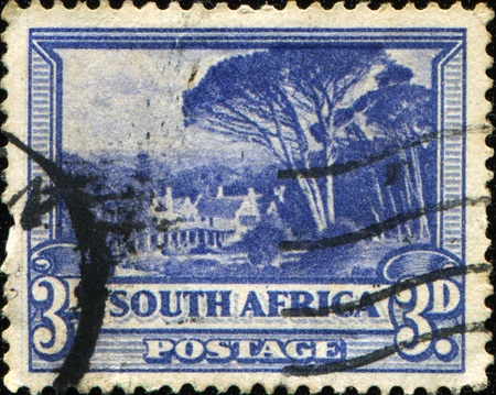 bilingual: SOUTH AFRICA - CIRCA 1939: A stamp printed in South Africa shows Bilingual pairs, Groot Schuur, circa 1939 Stock Photo