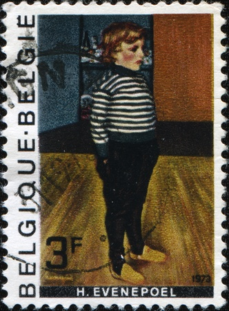 BELGIE - CIRCA 1973: A stamp printed in Belgie shows draw by Henry Evenepoel - Little Charles in a striped jersey, circa 1973 Stock Photo - 9501557