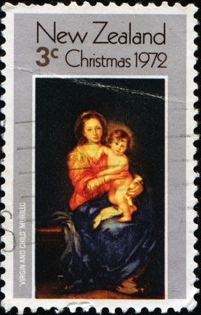 murillo: NEW ZEALAND - CIRCA 1972: A stamp printed in New Zealand show draw by Murillo - Virgin and child, circa 1972