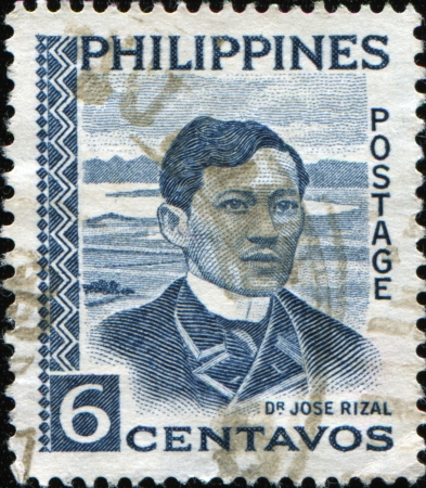 jose: PHILIPPIES - CIRCA 1954: A stamp printed in the Philippines shows iamge of Dr Jose Rizal, series, circa 1954 Editorial