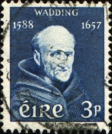 wadding: IRELAND - CIRCA 1957: A stamp printed in Ireland shows Father Luke Wadding (16 October 1588 � 18 November 1657) was an Irish Franciscan friar and historian, circa 1957  Stock Photo