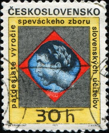 CZECHOSLOVAKIA - CIRCA 1971: A post stamp printed in Czechoslovakia honoring 50th Anniversary of Chorister (Slovak Teachers Choir), circa photo