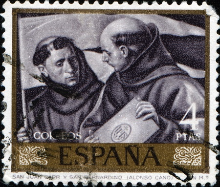cano: SPAIN - CIRCA 1969: A stamp printed in Spain shows draw by Alonso Cano  Editorial