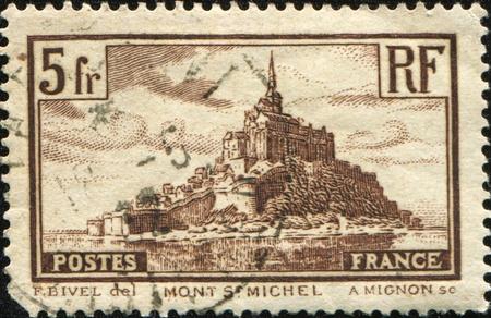 フランス - 1929 年頃: フランス ショー 1929 年頃、モン サン ミシェルで印刷スタンプ
