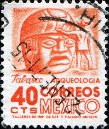 postmark: Mexiko - ca. 1950: Einen Stempel gedruckt in Mexiko zeigt Skulpturen, Tabasco, ca. 1950 Lizenzfreie Bilder