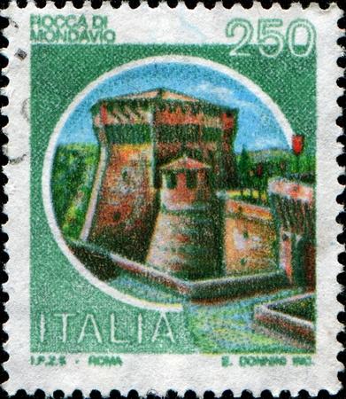 ITALY - CIRCA 1980: A stamp printed in Italy shows Rocca Di Mondavio, circa 1980 Stock Photo - 9570512