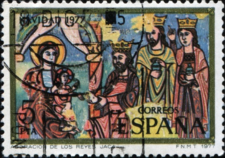 SPAIN - CIRCA 1977: A stamp printed in Spain shows adoration of three kings, circa 1977 photo