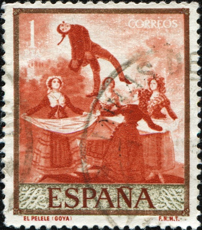 postal office: SPAIN - CIRCA 1958: A stamp printed in Spain shows draw by Goya