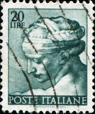 sibyl: ITALY - CIRCA 1961: A stamp printed in Italy shows Isaiah, fragment of painted ceiling of the Sistine Chapel, Vatican, fresco by Michelangelo, circa 1961 ITALY - CIRCA 1961: A stamp printed in Italy shows Libyan Sibyl, fragment of painted ceiling of the S
