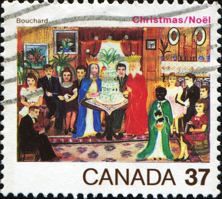 perforated stamp: CANADA - CIRCA 1984: A stamp printed in Canada shows Christmas Childrens Drawings, circa 1984