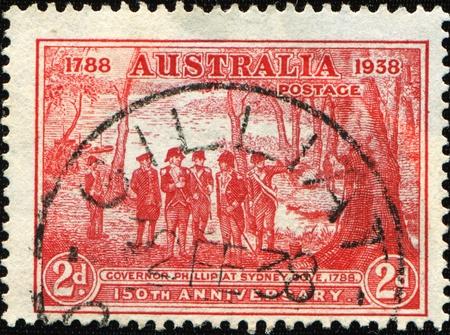 AUSTRALIA - CIRCA 1938: A stamp printed in Australia shows Governor Phillip at Sydney, circa 1938 photo