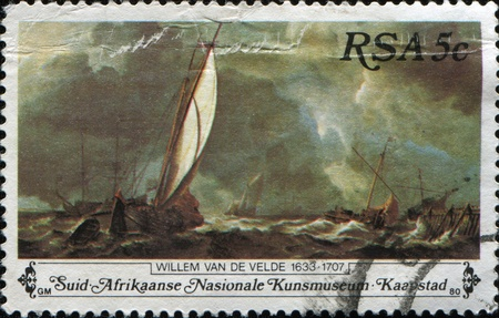 SOUTH AFRICA - CIRCA 1980: A stamp printed in South Africa shows paint by Willem Van de Velde, series National Art Gallery, circa 1980