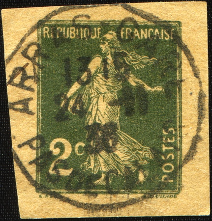 FRANCE - CIRCA 1936: A stamp printed in France shows Marianne, circa 1936 Stock Photo - 10252471