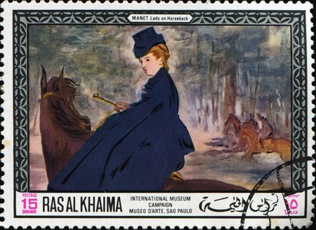 RAS AL KHAIMA (EMIRATE) - CIRCA 1968: a stamp printed in Ras-Al-Khaima (UAE) shows Lady on Horseback by Édouard Manet from Imternational Museum Gampaign, Museo d Arte, Sao Paolo, circa 1968