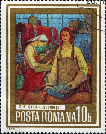 canceled: ROMANIA - C. 1973: A stamp printed in Romania shows drawing of artist Saru Woman-welders, one stamp from series, circa 1973  Stock Photo