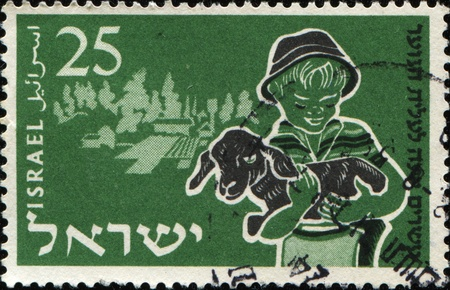 ISRAEL - SIRCA 1955: A stamp printed in Israel shows Boy and calf on hands, 20th Anniversary of Youth Immigration Scheme series, circa 1955 Stock Photo - 10281013