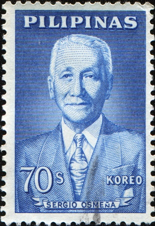 sergio: PHILIPPINES - CIRCA 1962: A stamp printed in Philippines shows Portrait Sergio Osmena y Suico  was a Filipino politician who served as the 4 President of the Philippines from 1944 to 1946, circa 1962