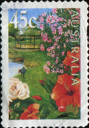 AUSTRALIA - CIRCA 2000: A stamp printed in Australia shows Hibiscus with bandstand in background, circa 2000  Stock Photo - 10297967