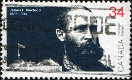 CANADA - CIRCA 1986: A stamp printed in Canada, shows Lieutenant-Colonel James Farquharson Macleod (1836-1894), commissioner of Northwest Mounted Police, circa 1986  photo