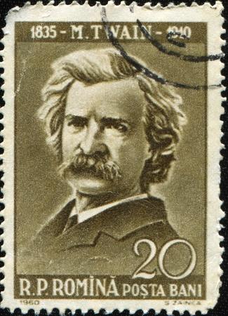 ROMANIA - CIRCA 1960: A stamp printed in Romania show Mark Twain, circa 1960