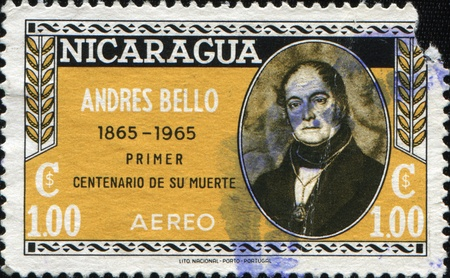 humanist: NICARAGUA - CIRCA 1965: A stamp printed in Nicaragua shows Andres Bello -  a Venezuelan humanist, poet, lawmaker, philosopher, educator and philologist, circa 1965