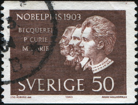 nobel: SWEDEN - CIRCA 1963: A stamp printed in Sweden shows Nobel laureate Antoine Henri Becquerel, Pierre and Marie Curie, circa 1963