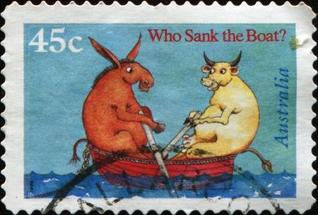 children's story: AUSTRALIA - CIRCA 1999: A stamp printed in Australia shows illustration for childrens story by Pamela Allen