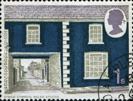GREAT BRITAIN - CIRCA 1970: A stamp printed in Great Britain shows British Rural Architecture, Multicoloured, Welsh stucco, circa 1970 Stock Photo - 10458297