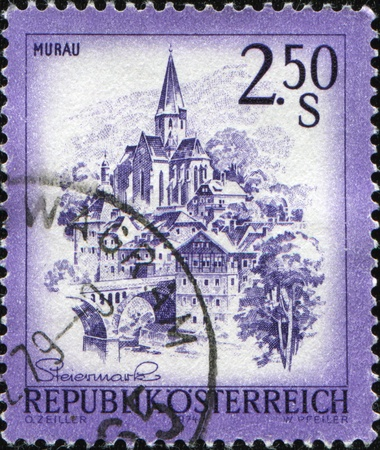 cancelled stamp: AUSTRIA - CIRCA 1974: A stamp printed in Austria, shows the city of Murau is the capital of the district of the same name in Styria, located along the Mur river, circa 1974  Stock Photo
