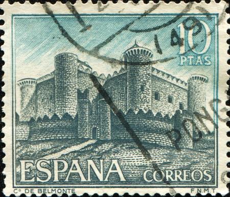 cuenca: SPAIN - CIRCA 1967: A stamp printed in Spain shows elmonte Castle (Castillo de Belmonte) in Belmonte, Cuenca province, series, circa 1967 Stock Photo