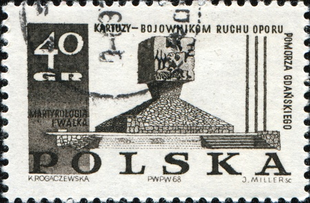 martyrdom: POLAND - CIRCA 1969: A Stamp printed in Poland honoring Polish Martyrdom and Resistance, 1939-45, shows Guerillas Monument, Kartuzy, circa 1969 Stock Photo