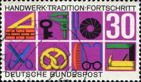 GERMANY-CIRCA 1968: A stamp printed in Germany shows German Federal Republic Crafts and Trades, Trade Symbols , circa 1968 Stock Photo - 10537031