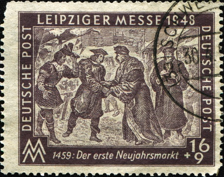 GERMANY - CIRCA 1948: A stamp printed in Germany honoring the Leipzig Trade Fair, series, circa 1948  photo