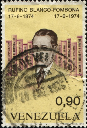 VENEZUELA - CIRCA 1974: A stamp printed in VENEZUELA shows image Rufino Blanco-Fombona was a Venezuelan writer, circa 1974  Stock Photo - 10610101