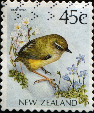 cancelled stamp: NEW ZEALAND - CIRCA 1991: A stamp printed in New Zealand, shows a bird New Zealand Rockwren (Xenicus gilviventris), circa 1991