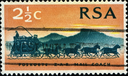 rsa: SOUTH AFRICA - CIRCA 1969: A stamp printed in South Africa (RSA) honoring Centenary of First Stamps of the South African Republic (Transvaal), shows Mail Coach , circa 1969
