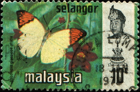 SELANGOR - CIRCA 1971: A stamp printed in Selangor (one of the 13 states of Malaysia) shows butterfly Great Orange Tip - Hebomoia glaucippe aturia with portrait of Sultan Salahuddin Abdul Aziz Shah Stock Photo - 10658874