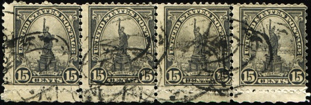 US - CIRCA 1922: A stamp printed in US shows image of Statue of Liberty,series, circa 1922 Stock Photo - 10658875