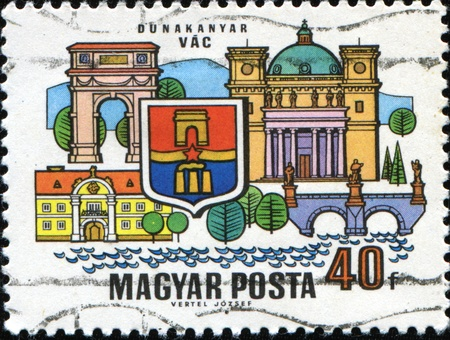 vac: HUNGARY - CIRCA 1969: A stamp printed in the Hungary shows Famous city on the Danube, Vac, series, circa 1969 Stock Photo