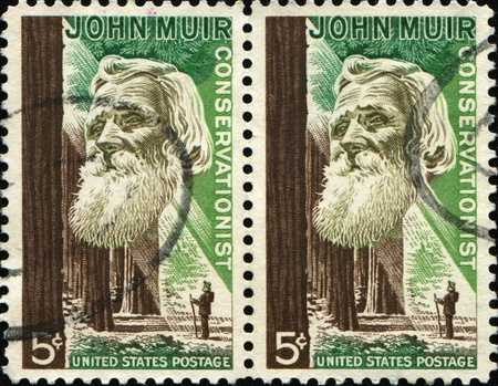 conservationist: UNITED STATES OF AMERICA - CIRCA 1964: A stamp printed in the United States of America shows John Muir, American naturalist and conservationist, circa 1964