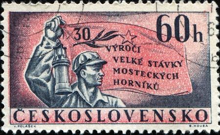 CZECHOSLOVAKIA - CIRCA 1962: A stamp printed in Czechoslovakia honoring 30th Anniversary of Miners' Strike, circa 1962 Stock Photo - 10680909