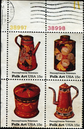 UNITED STATES OF AMERICA - CIRCA 1979: A stamp printed in the United States of America shows Pennsylvania Toleware, Folk Art series, circa 1979 Stock Photo - 10680917