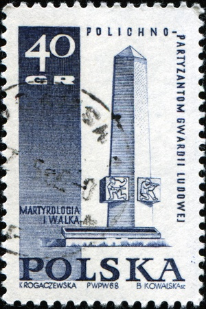martyrdom: POLAND - CIRCA 1968: A stamp printed in Poland shows Peoples Guard Insurgents Monument, Polichno,  Polish Martyrdom and Resistance, 1939-45 sries, circa 1968  Stock Photo