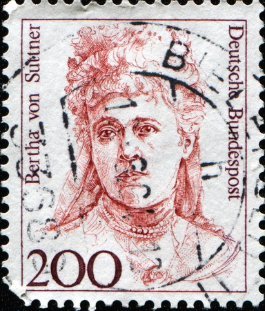 nobel: GERMANY - CIRCA 1989: A stamp printed in Germany shows Bertha von Suttner (1843-1914), 1905 Nobel Peace Prize winner, circa 1989  Stock Photo
