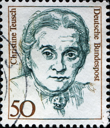 GERMANY - CIRCA 1986: A stamp printed in German Federal Republic shows Famous German Women Christine Teusch, politician, series, circa 1986